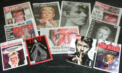 David Bowie, death, obituaries, tributes, rock music, front pages,media, newspapers