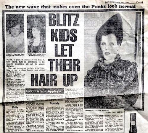 Blitz Club, nightlife, London, Swinging 80s,clubbing,Blitz Kids, New Romantics, Daily Mirror, newspapers, subcultures,Steve Strange, Rusty Egan,Steve Strange, Rusty Egan, headline ,