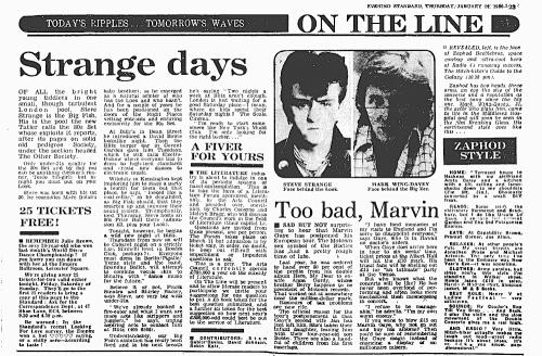 Spandau Ballet,Evening Standard, Blitz Club, New Romantics, Steve Strange